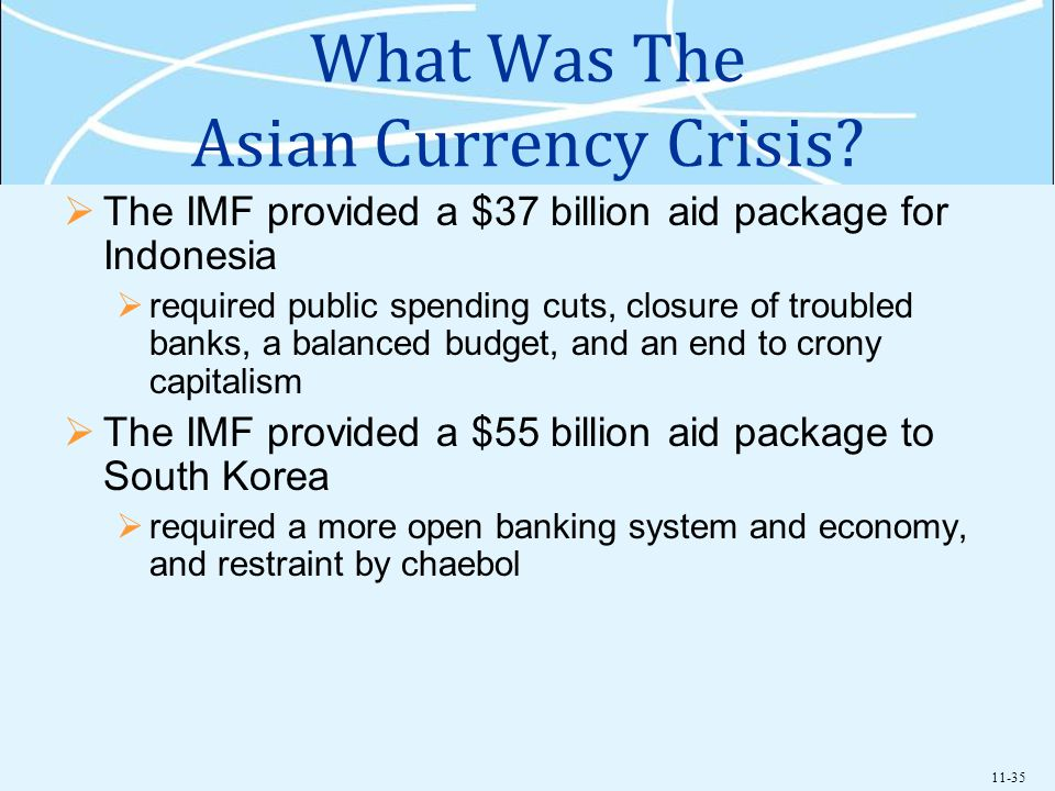 11-35 What Was The Asian Currency Crisis? The IMF provided a $37 billion aid package for Indonesia required public spending cuts, closure of troubled