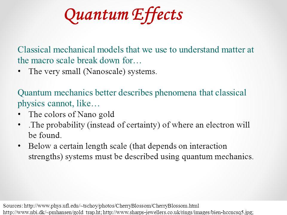 Quantum Effects Sources: http://www.phys.ufl.edu/~tschoy/photos/CherryBlossom/CherryBlossom.html http://www.nbi.dk/~pmhansen/gold_trap.ht; http://www.