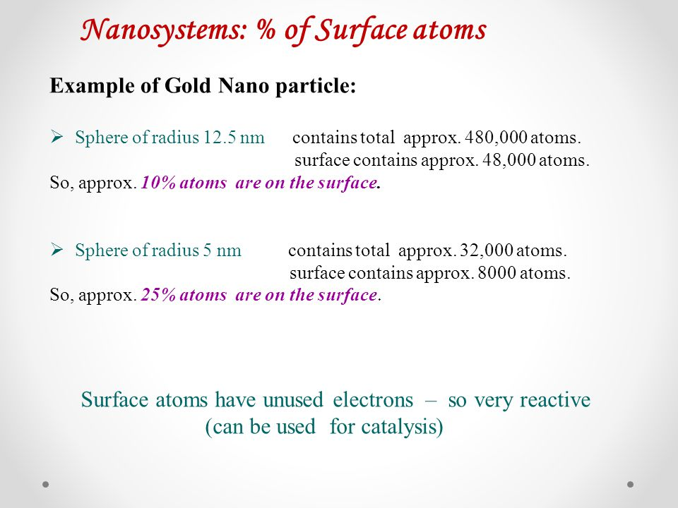 Nanosystems: % of Surface atoms Example of Gold Nano particle: Sphere of radius 12.5 nm contains total approx. 480,000 atoms. surface contains approx.