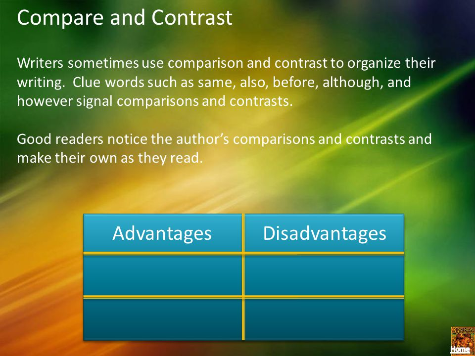Compare and Contrast Writers sometimes use comparison and contrast to organize their writing. Clue words such as same, also, before, although, and how