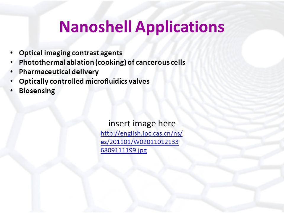 Nanoshell Applications Optical imaging contrast agents Photothermal ablation (cooking) of cancerous cells Pharmaceutical delivery Optically controlled microfluidics valves Biosensing insert image here   es/201101/W jpg