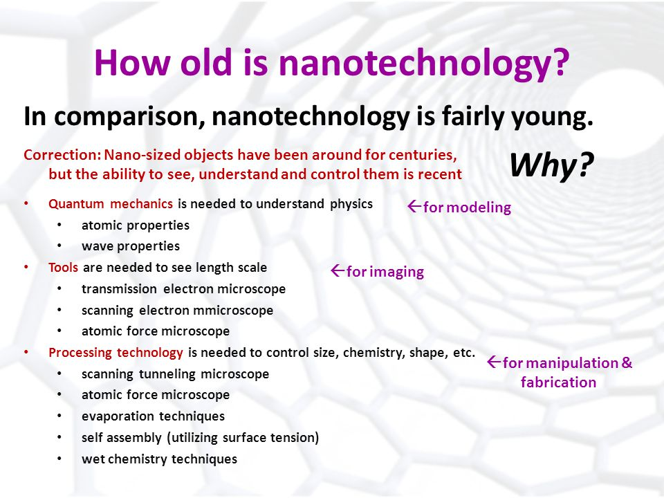 How old is nanotechnology. In comparison, nanotechnology is fairly young.