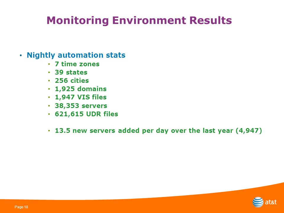 Page 18 Monitoring Environment Results Nightly automation stats 7 time zones 39 states 256 cities 1,925 domains 1,947 VIS files 38,353 servers 621,615 UDR files 13.5 new servers added per day over the last year (4,947)