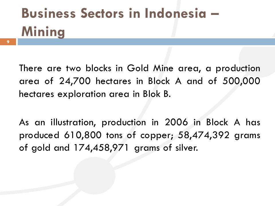 Business Sectors in Indonesia – Mining 9 There are two blocks in Gold Mine area, a production area of 24,700 hectares in Block A and of 500,000 hectar
