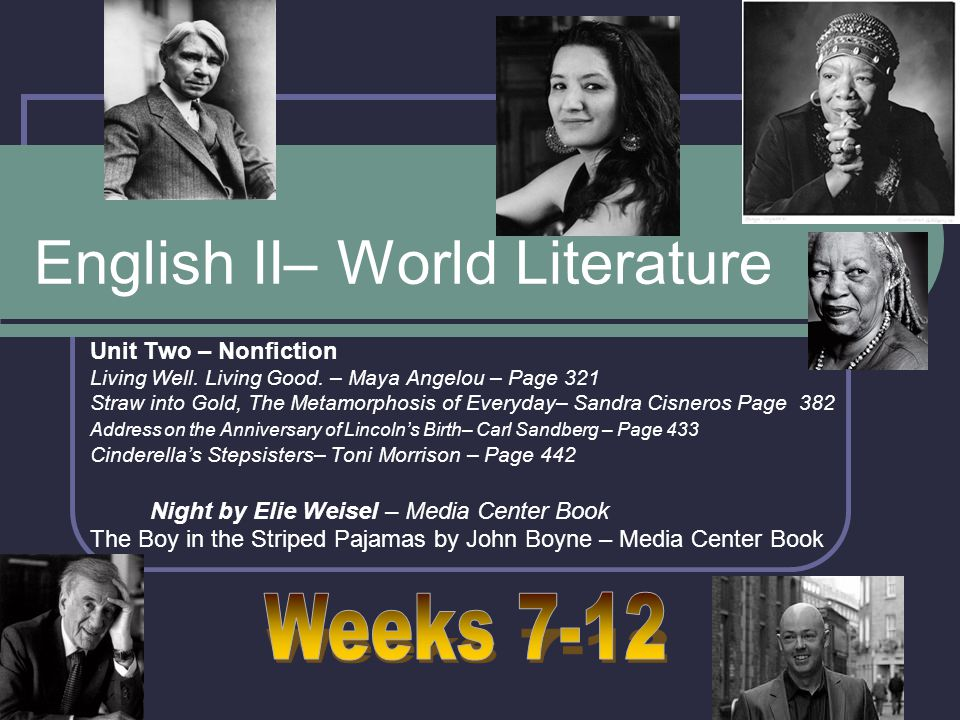 English II– World Literature Unit Two – Nonfiction Living Well.