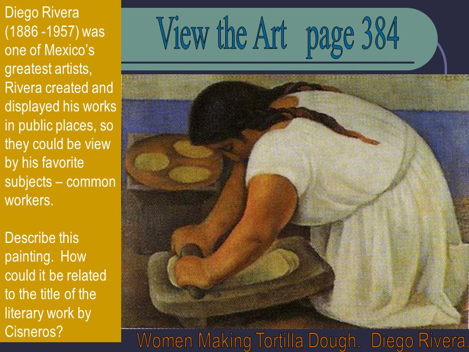 Diego Rivera (1886 -1957) was one of Mexicos greatest artists, Rivera created and displayed his works in public places, so they could be view by his favorite subjects – common workers.