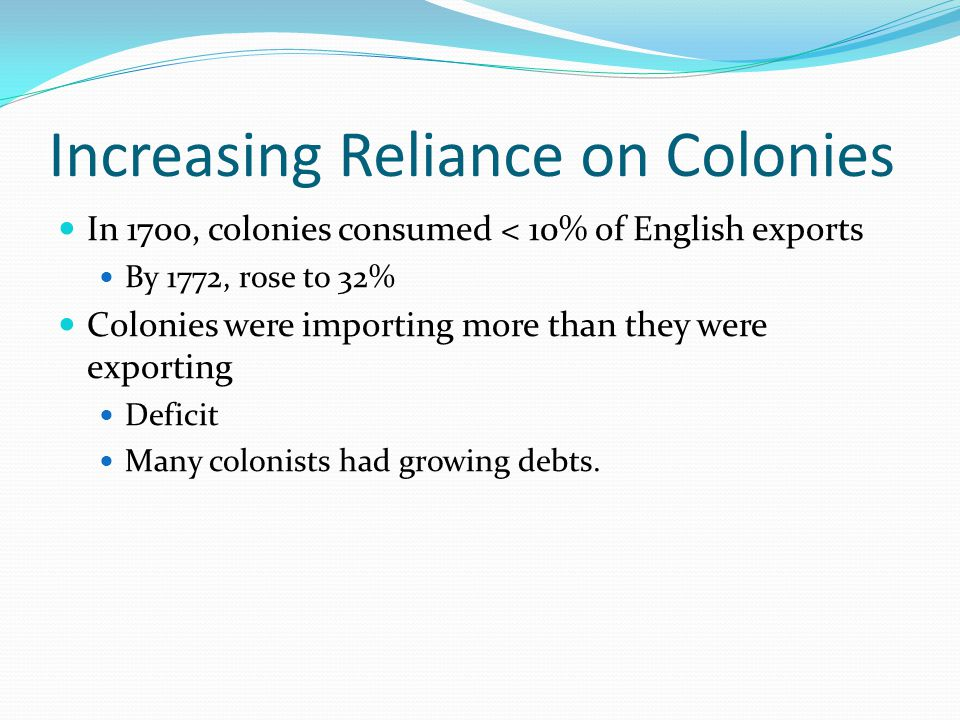 Increasing Reliance on Colonies In 1700, colonies consumed < 10% of English exports By 1772, rose to 32% Colonies were importing more than they were exporting Deficit Many colonists had growing debts.