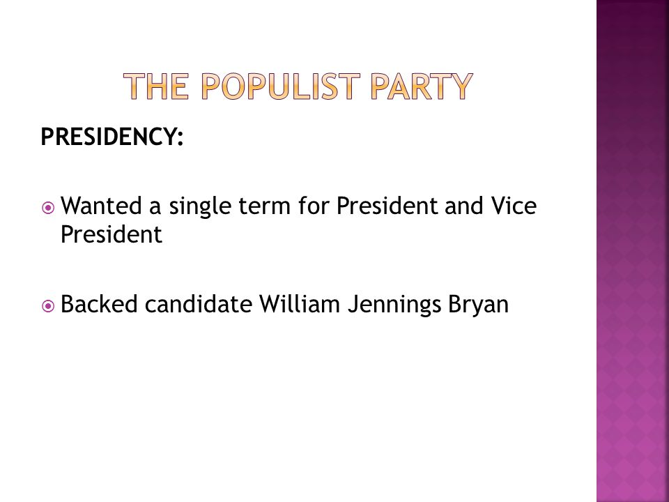 PRESIDENCY: Wanted a single term for President and Vice President Backed candidate William Jennings Bryan