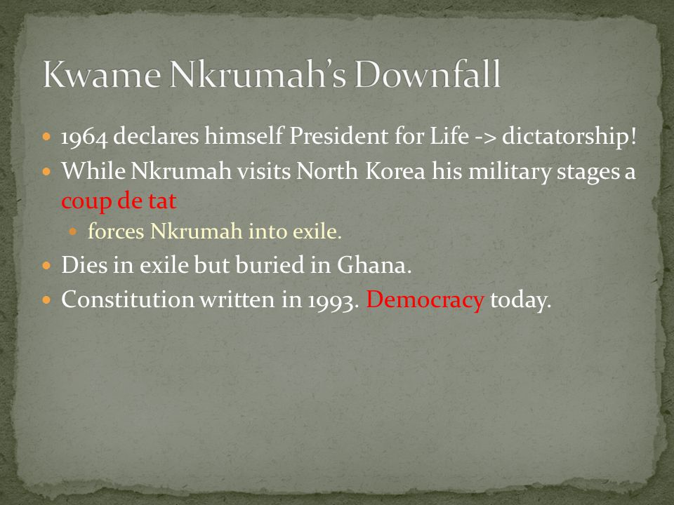 1964 declares himself President for Life -> dictatorship.
