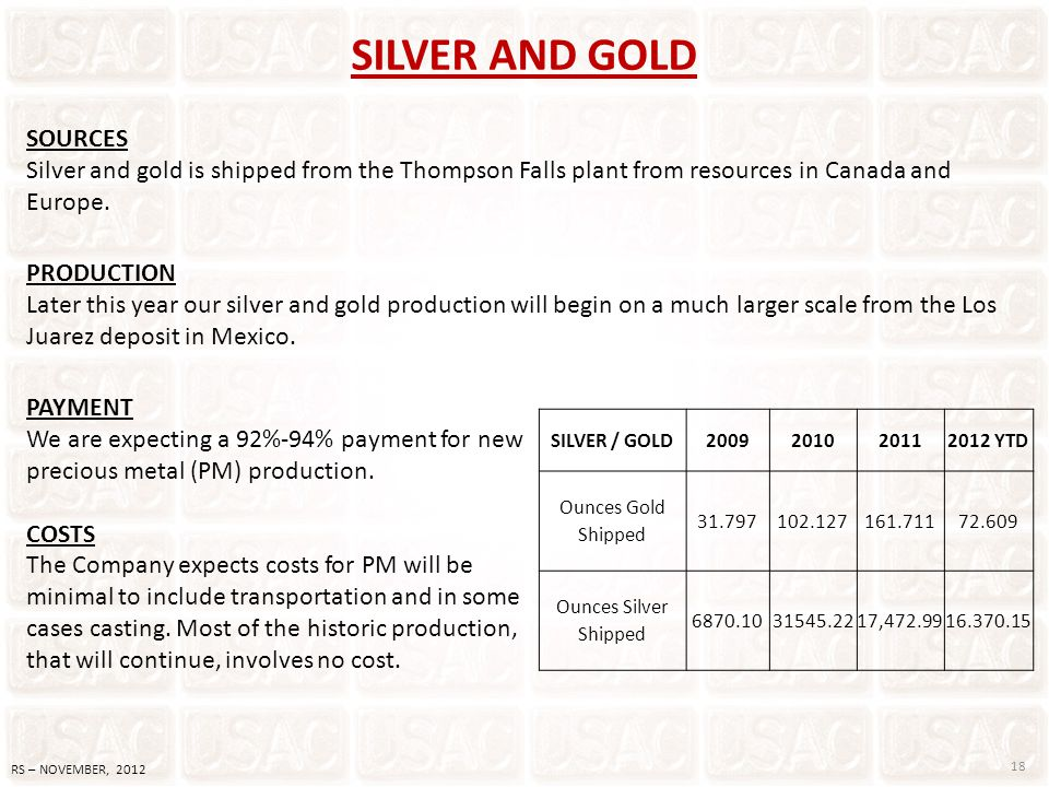 PAYMENT We are expecting a 92%-94% payment for new precious metal (PM) production. COSTS The Company expects costs for PM will be minimal to include t