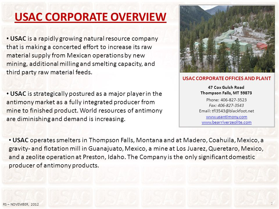USAC CORPORATE OVERVIEW 2 RS – NOVEMBER, 2012 USAC is a rapidly growing natural resource company that is making a concerted effort to increase its raw
