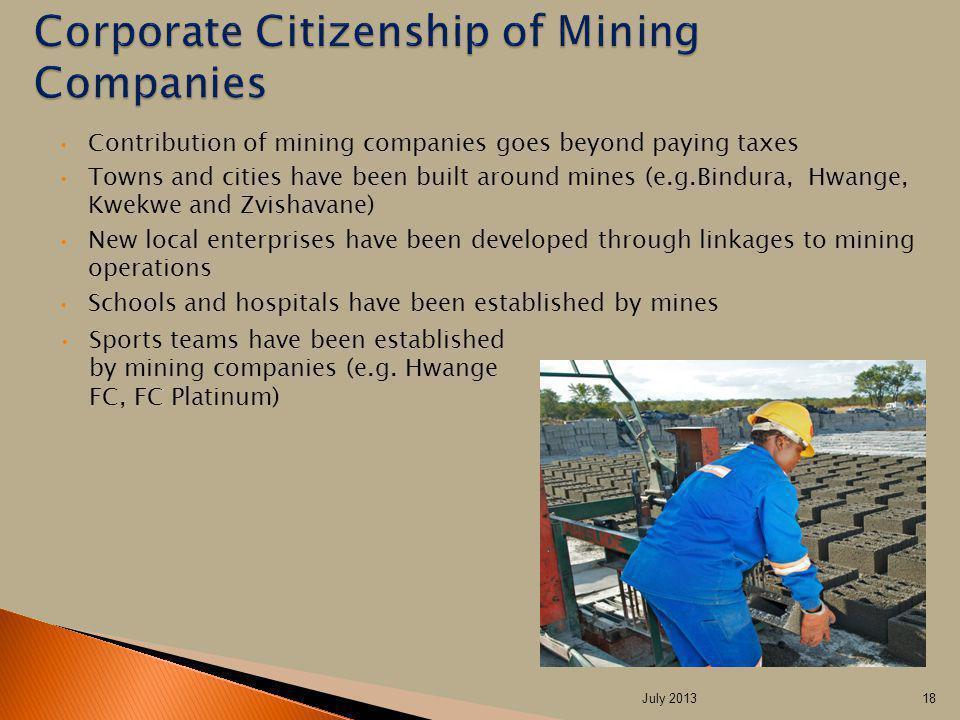 Contribution of mining companies goes beyond paying taxes Towns and cities have been built around mines (e.g.Bindura, Hwange, Kwekwe and Zvishavane) N