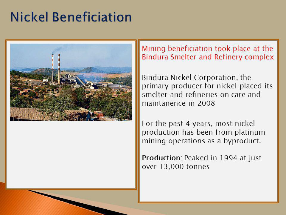 There will be a picture of the mine here Mining beneficiation took place at the Bindura Smelter and Refinery complex Bindura Nickel Corporation, the p