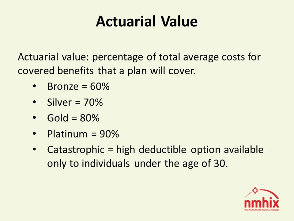 Actuarial Value Actuarial value: percentage of total average costs for covered benefits that a plan will cover.