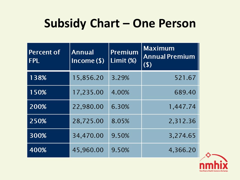 Subsidy Chart – One Person