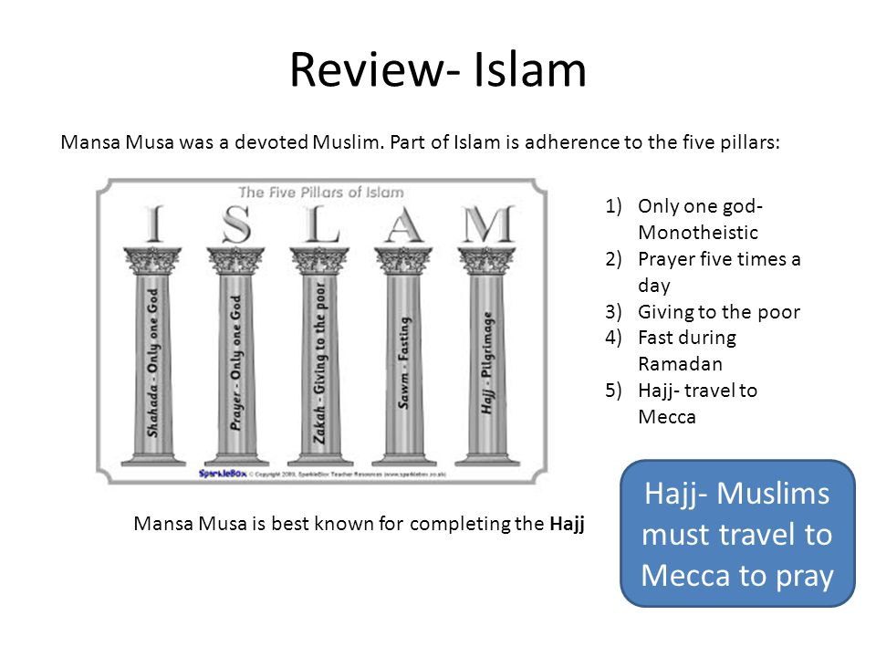 Review- Islam Mansa Musa was a devoted Muslim.