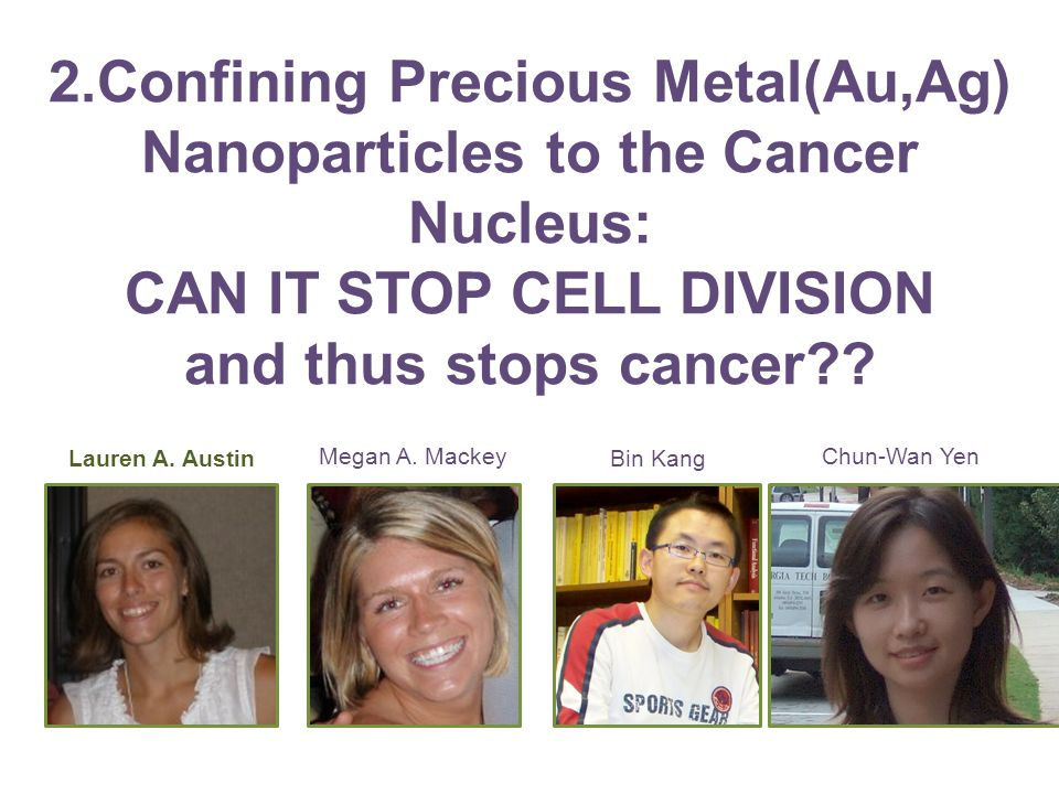 2.Confining Precious Metal(Au,Ag) Nanoparticles to the Cancer Nucleus: CAN IT STOP CELL DIVISION and thus stops cancer?.