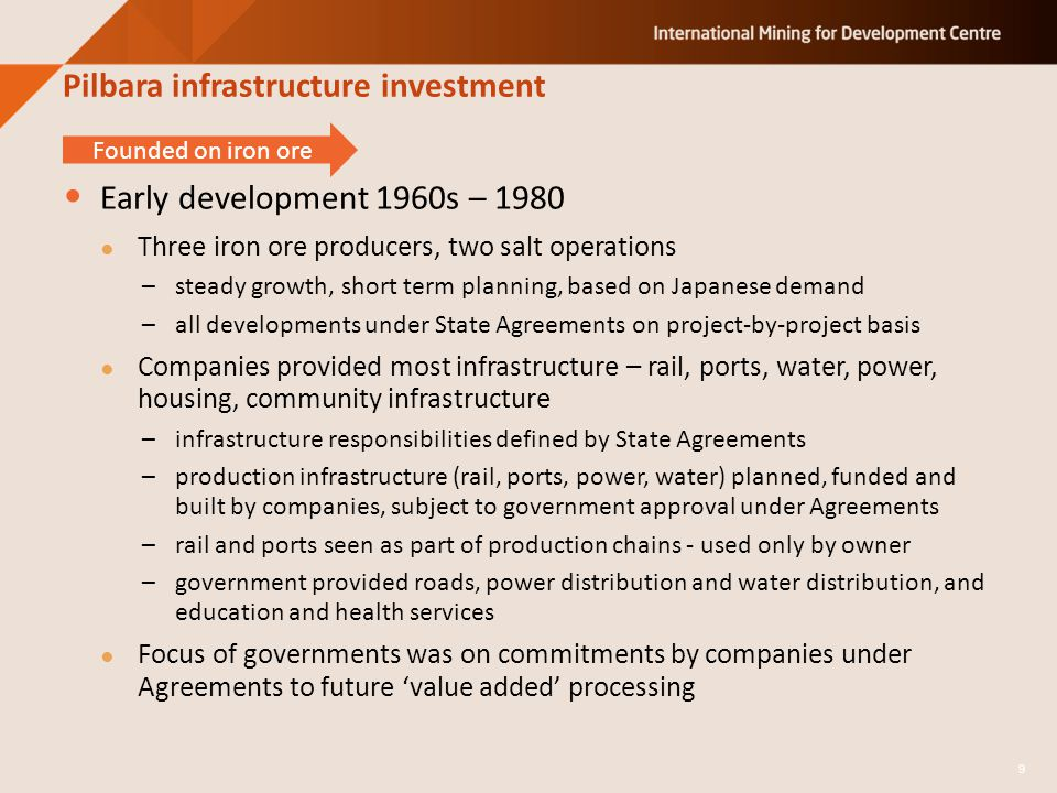 Pilbara infrastructure investment Early development 1960s – 1980 Three iron ore producers, two salt operations –steady growth, short term planning, ba