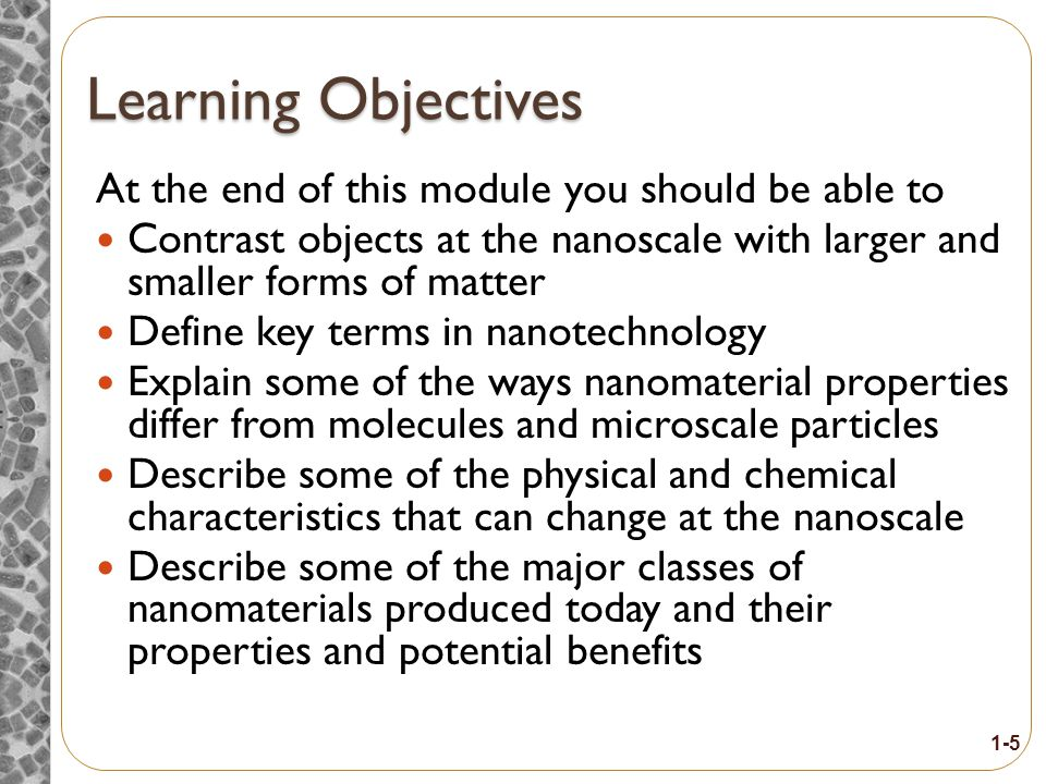 Lesson Overview Purpose To provide workers with introductory information about nanotechnology and nanomaterials Topics 1.How small is a nanometer.