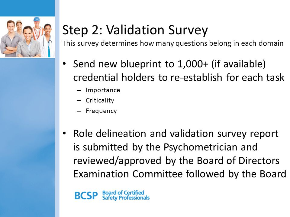 Step 2: Validation Survey This survey determines how many questions belong in each domain Send new blueprint to 1,000+ (if available) credential holde