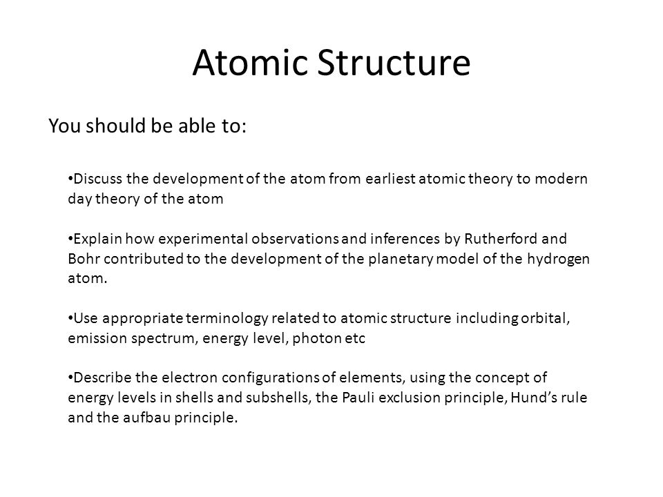 Atomic Structure Chemistry 12: Chapter 4