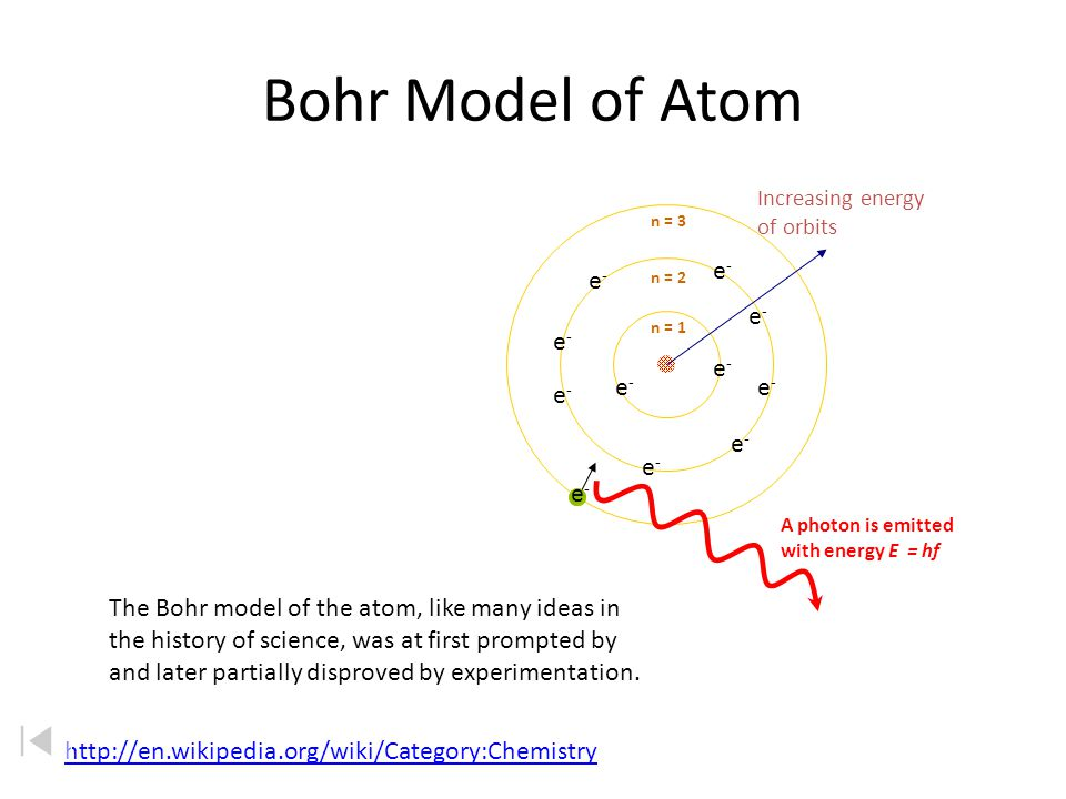 Niels Bohr (1913) 1.e - can only occupy certain regions of space (orbits) 2.e - only have specific (quantized) energy values in an atom (energy levels) 3.e - can move from one orbit to another by absorbing or emitting energy, giving rise to characteristic spectra.