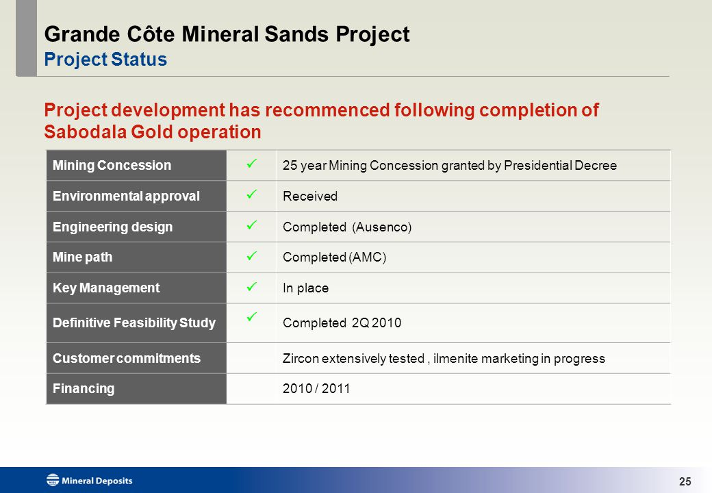 25 Grande Côte Mineral Sands Project Project Status Project development has recommenced following completion of Sabodala Gold operation Mining Concession 25 year Mining Concession granted by Presidential Decree Environmental approval Received Engineering design Completed (Ausenco) Mine path Completed (AMC) Key Management In place Definitive Feasibility Study Completed 2Q 2010 Customer commitmentsZircon extensively tested, ilmenite marketing in progress Financing2010 / 2011