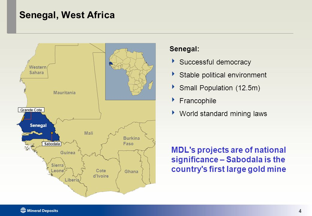5 Mineral Deposits Two projects in Senegal, West Africa: Company overview SABODALA Gold Operation Strategically located at epicentre of a major new gold district GRANDE CÔTE Mineral Sands Project Development project with Tier 1 potential