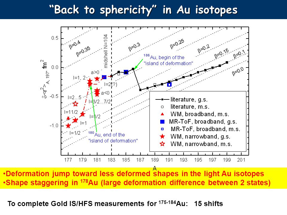 Back to sphericity in Au isotopes Deformation jump toward less deformed shapes in the light Au isotopes Shape staggering in 178 Au (large deformation difference between 2 states) To complete Gold IS/HFS measurements for 175-184 Au: 15 shifts