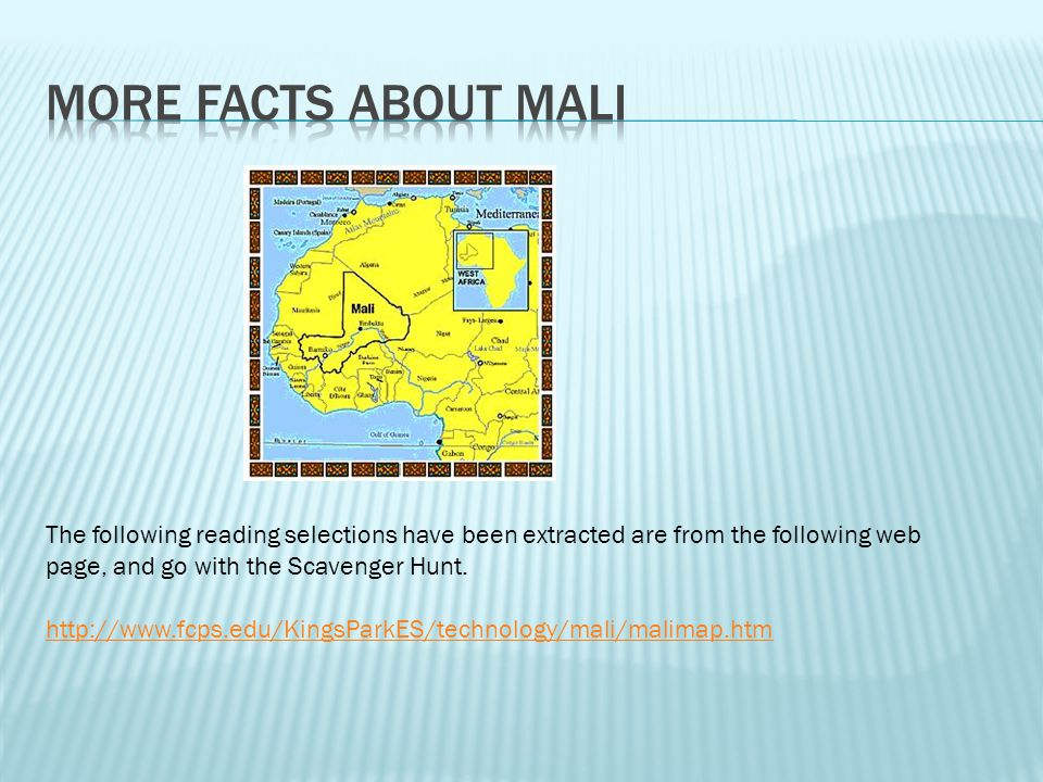 1. On which continent was Ancient Mali located? (H/Ge) ________________ 2. What river provided water for farming, laundering (washing) and bathing? (G