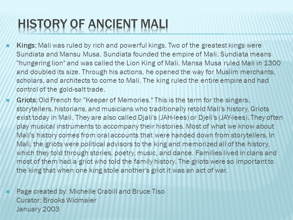 Meaning of the word Mali: Mali means
