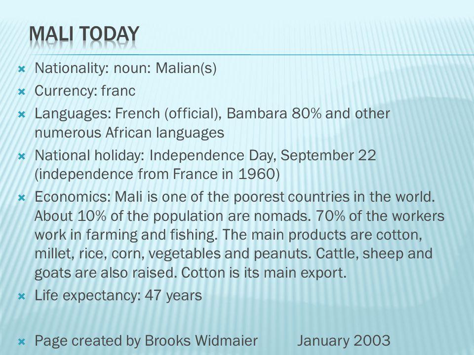 Country name: conventional long form: Republic of Mali conventional short form: Mali former: Gold Coast Capital: Bamako Flag description: three equal