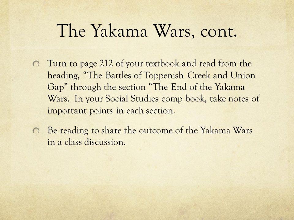 The Yakama Wars, cont.