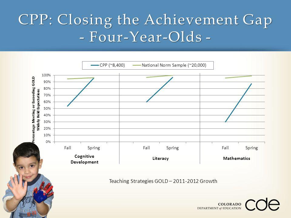 CPP: Closing the Achievement Gap - Four-Year-Olds - Teaching Strategies GOLD – 2011-2012 Growth Social-Emotional Development Physical Development Language Development