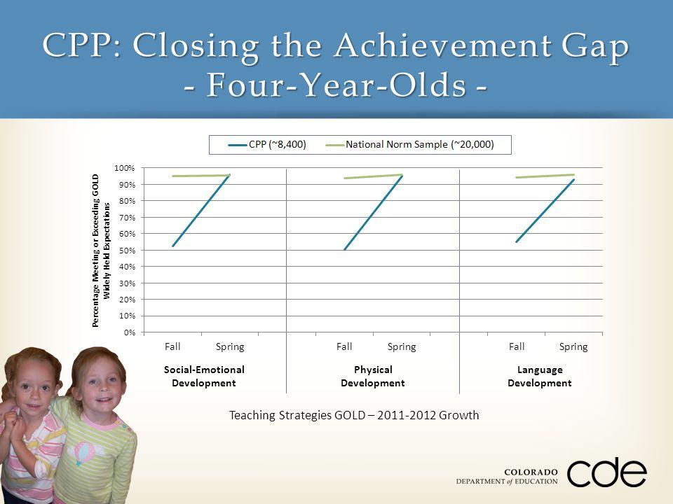 CPP: Closing the Achievement Gap - Three-Year-Olds - Teaching Strategies GOLD – 2011-2012 Growth Cognitive Development LiteracyMathematics