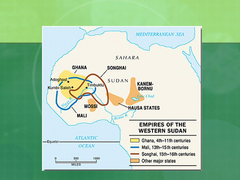 Empires of West Africa Ghana Emerges around 400 AD Controlled trade and built the regions first empire Gained wealth by taxing gold and salt after the conquest of North Africa by Muslims Good relationship w/ Muslims who built mosques in their major cities Most people were farmers and herders who did not profit from trade Collapsed by the early 1200s War, over planting, new gold mines whose trade routes bypassed Ghana