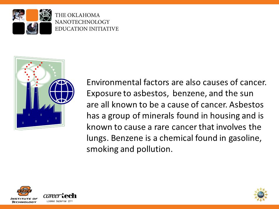 Updated September 2011 Environmental factors are also causes of cancer. Exposure to asbestos, benzene, and the sun are all known to be a cause of canc