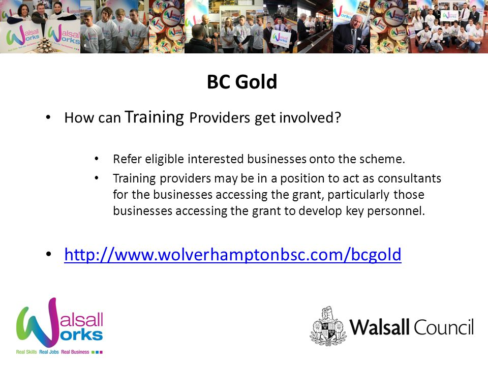BC Gold How can Training Providers get involved.