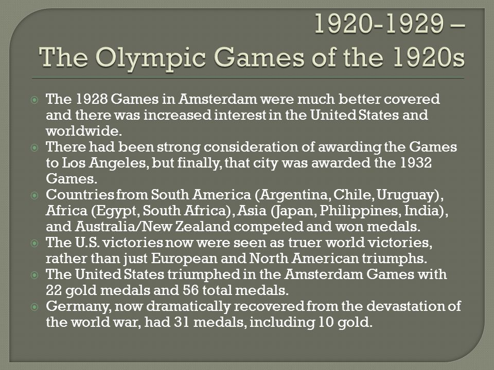 The 1928 Games in Amsterdam were much better covered and there was increased interest in the United States and worldwide. There had been strong consid