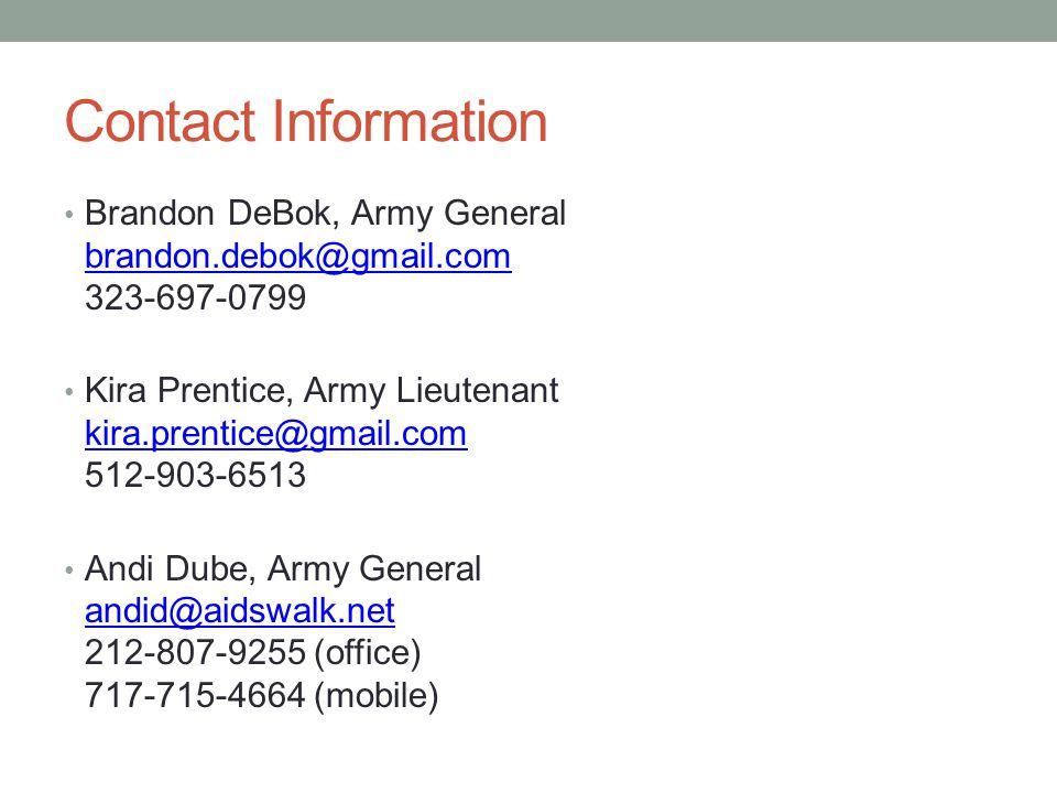 Contact Information Brandon DeBok, Army General brandon.debok@gmail.com 323-697-0799 brandon.debok@gmail.com Kira Prentice, Army Lieutenant kira.prentice@gmail.com 512-903-6513 kira.prentice@gmail.com Andi Dube, Army General andid@aidswalk.net 212-807-9255 (office) 717-715-4664 (mobile) andid@aidswalk.net