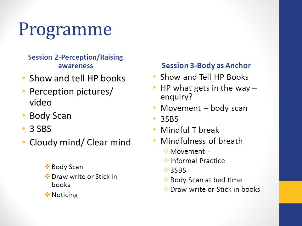 Programme Session 2-Perception/Raising awareness Show and tell HP books Perception pictures/ video Body Scan 3 SBS Cloudy mind/ Clear mind Body Scan Draw write or Stick in books Noticing Session 3-Body as Anchor Show and Tell HP Books HP what gets in the way – enquiry.