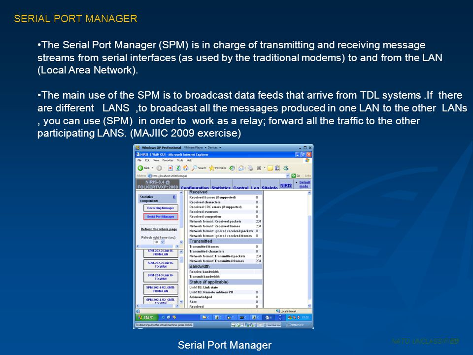 SERIAL PORT MANAGER The Serial Port Manager (SPM) is in charge of transmitting and receiving message streams from serial interfaces (as used by the tr