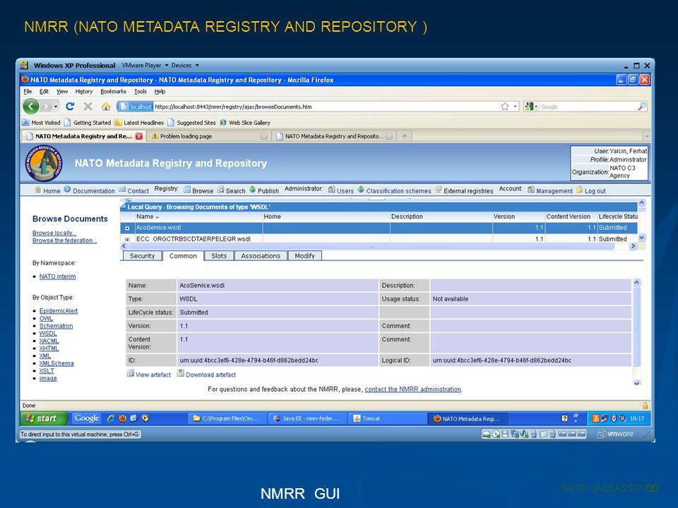 NMRR (NATO METADATA REGISTRY AND REPOSITORY ) NATO UNCLASSIFIED NMRR GUI 20
