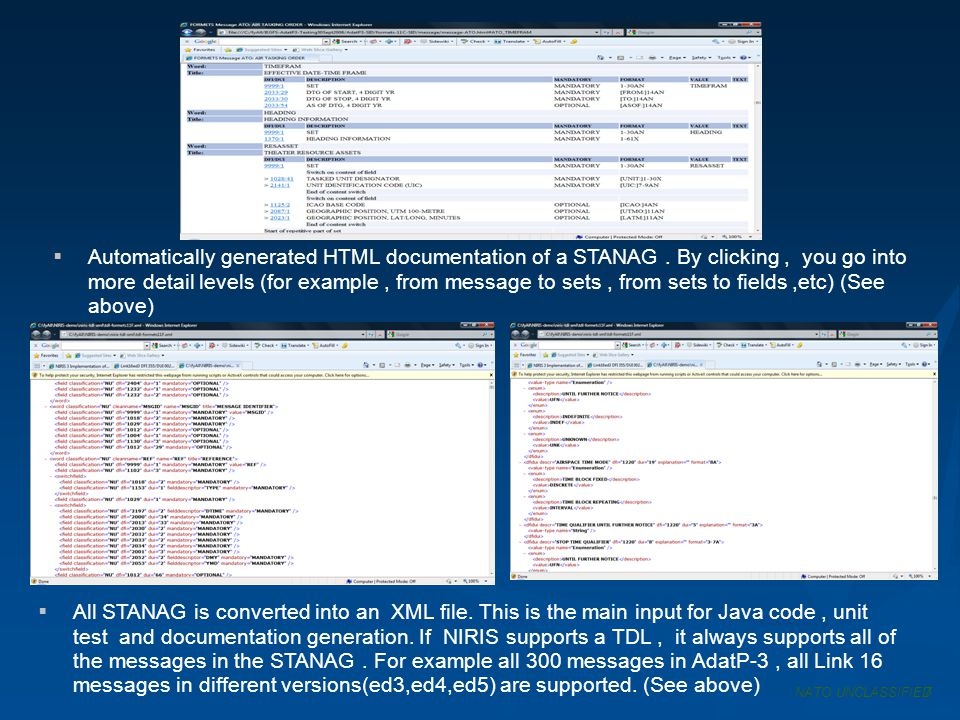 Automatically generated HTML documentation of a STANAG. By clicking, you go into more detail levels (for example, from message to sets, from sets to f