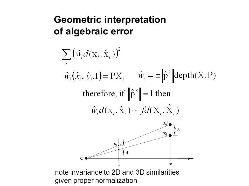 Geometric interpretation of algebraic error note invariance to 2D and 3D similarities given proper normalization