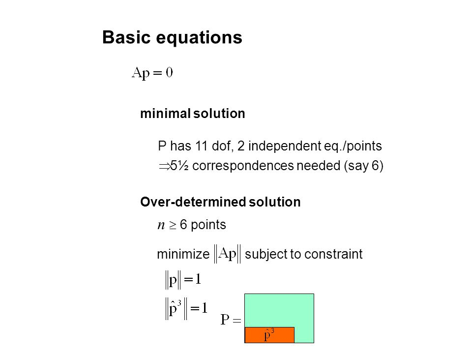 minimal solution Over-determined solution 5½ correspondences needed (say 6) P has 11 dof, 2 independent eq./points n 6 points minimize subject to cons