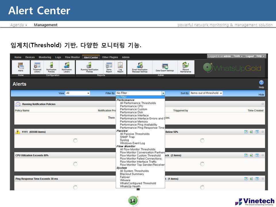 Agendapowerful network monitoring & management solution Alert Center 14 Management (Threshold),.