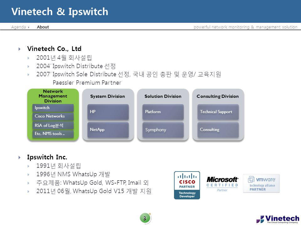 Agendapowerful network monitoring & management solution Vinetech & Ipswitch 3 Vinetech Co., Ltd 2001 4 2004 Ipswitch Distribute 2007 Ipswitch Sole Dis