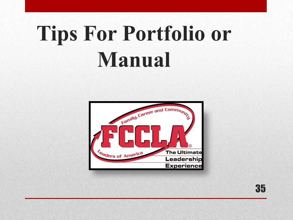 Tips For Portfolio or Manual 35