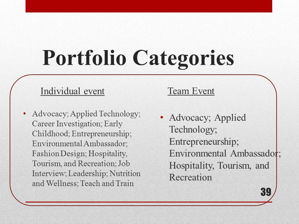 Portfolio Categories 39 Advocacy; Applied Technology; Career Investigation; Early Childhood; Entrepreneurship; Environmental Ambassador; Fashion Desig